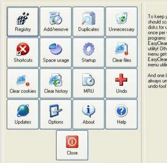 EasyCleaner  позволяет чистить реестр Windows, искать дубликаты файлов, работать с корзиной, чистить куки и временные файлы и т.д.
